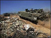 An Israeli tank inside Lebanon in July 2006