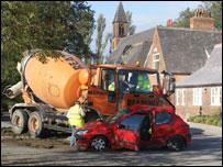 Scene of East Cowick school crash
