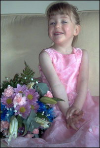 Heather, 4, as a bridesmaid