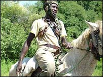 Chadian armed man near the Darfur border