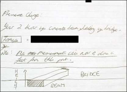 A notebook with plans for constructing a bomb