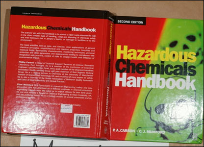 A hazardous chemical handbook found at Dhiren Barot's home