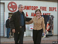 US President George W Bush and First Lady Laura vote in Texas