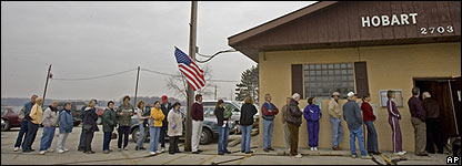 Voters line up in Hobart, Wisconsin