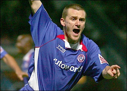Colin Larkin celebrates as Chesterfield look to cause another upset