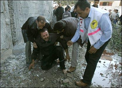 A Palestinian mourns in Beit Hanoun, Gaza