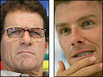 Real Madrid boss Fabio Capello (left) and midfielder David Beckham