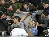Relatives identify the dead from Israeli shelling