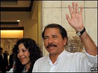 Daniel Ortega and his wife Rosario Murillo in Managua