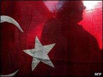 Silhouette of man behind Turkish flag