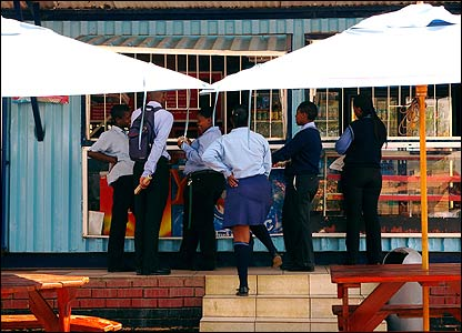 South African school children on their lunch break [Pic: Marion Edwards]