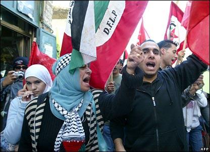 Palestinian protesters in Bethlehem