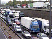 Traffic queuing towards the Dartford Crossing (from Highways Agency camera)