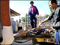 Bodies at a hospital in Baquba