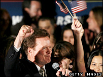 Jim Webb, Democrat, celebrates in Virginia