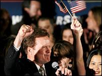 Jim Webb, Democrat, celebrates in Virginia