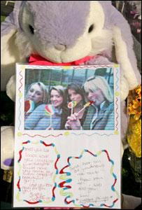 Picture of girls left with tribute left at school