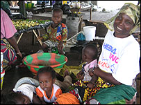 A Liberian family in a market in Nimba