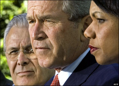 US Defence Secretary Donald Rumsfeld (far left) (13 September 2001) with the US president and Condoleezza Rice