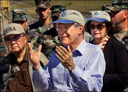 US Defence Secretary Donald Rumsfeld visits Camp X-ray (27 Jan 2002)