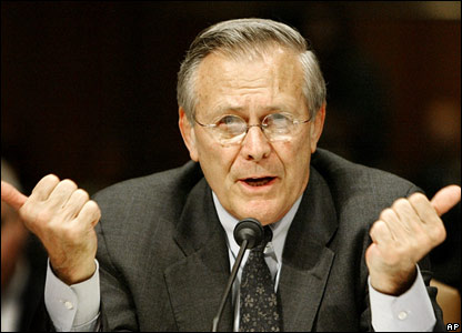 US Defence Secretary Donald Rumsfeld answers questions during a Senate inquiry (7 May 2004)