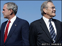 Mr Bush and Mr Rumsfeld together