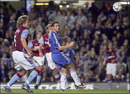 Frank Lampard heads home in the 32nd minute