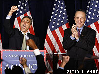 Democratic figures Rahm Emanuel and Charles Schumer celebrate in New York