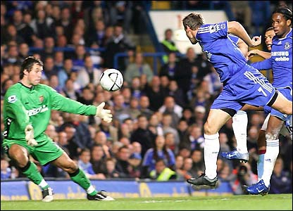 Andriy Shevchenko connects with Lampard's cross to make it 2-0