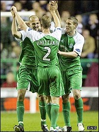 Hibs celebrate Rob Jones' 32nd minute goal