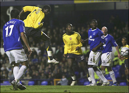 Emmanuel Adebayor scores the decisive goal