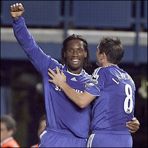Didier Drogba celebrates his goal