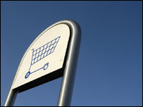 Shopping trolley sign, BBC