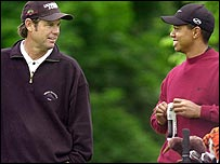 Paul Azinger and Tiger Woods