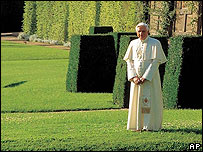 The Pope poses at Castel Gandolfo for a 2007 calendar