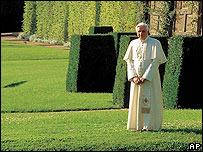 The Pope poses at Castel Gandolfo for a 2007 calendar