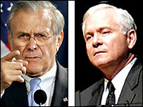 Split image Donald Rumsfeld (left), Robert Gates (right)