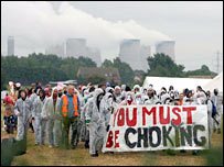 Protestors outside power station. Image: PA