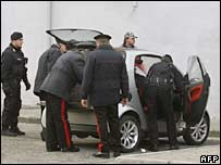 Italian police inspect a car during a raid in Naples on 8 November 2006