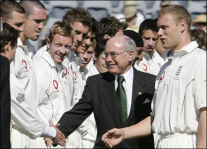 Australian prime Minister John Howard is introduced to the England team by skipper Andrew Flintoff