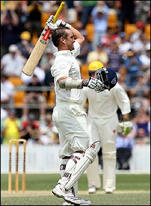 Phil Jaques celebrates his century