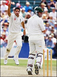 Sajid Mahmood celebrates the dismissal of Travis Birt