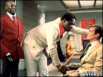 Yaphet Kotto (centre) and Roger Moore in Live and Let Die