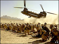 A UK CH-47 helicopter landing in Now Zad, Afghanistan, Oct 30, 2006