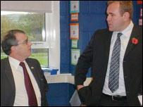 Scott Quinnell and Ysgol Penweddig head Arwel George
