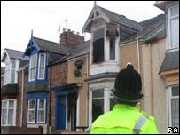 Scene of Hendon arson attack