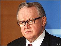 UN special envoy and former Finnish President Martti Ahtisaari