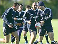 Selecci�n argentina de rugby entrenando.