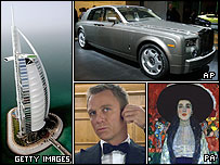 What £100m might buy you, clockwise from left, Burj al Arab hotel, Rolls Royce Phantom, Klimt's Adele Bloch-Bauer II, Daniel Craig as James Bond