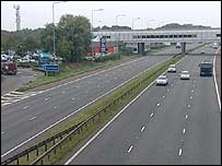 Motorway with service slip-road
